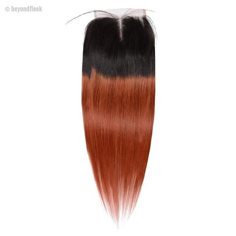 Ombre Brazilian Straight Hair Light Brown Lace Closures T1B/350