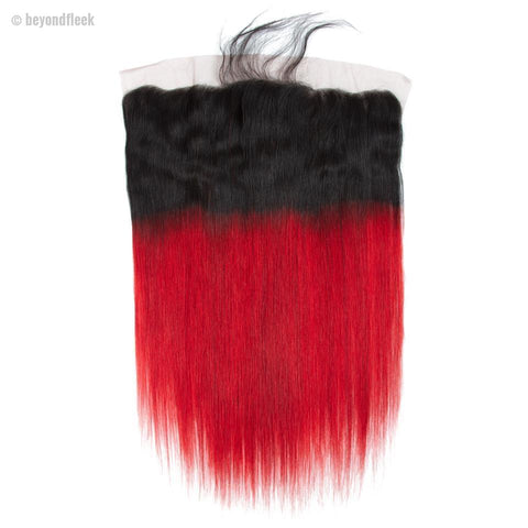 Brazilian Straight Pre-Colored Ombre Red Human Hair Lace Frontals