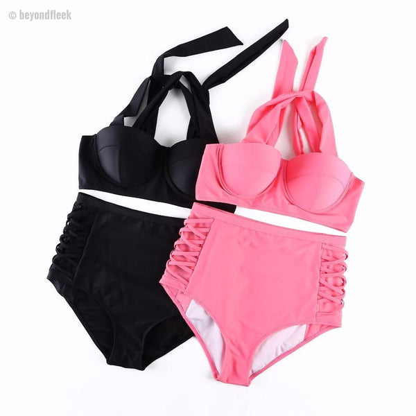 2018 Bella Plus Size High Waist Push Up Bikini Set