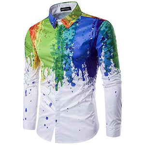 2018 Ink Splash Design Paint Dress Shirt