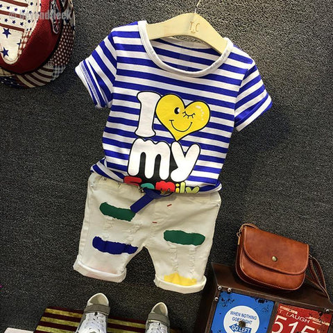 2018 Fashion I Love My Family Print T-shirt+White Pant Boy Sets