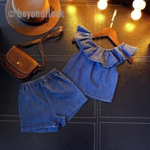 2018 Girls Fashion Jeans Shorts Set