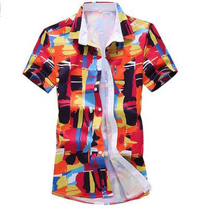 Men 3D Graffiti Printing Fit short Sleeve Beach Shirt