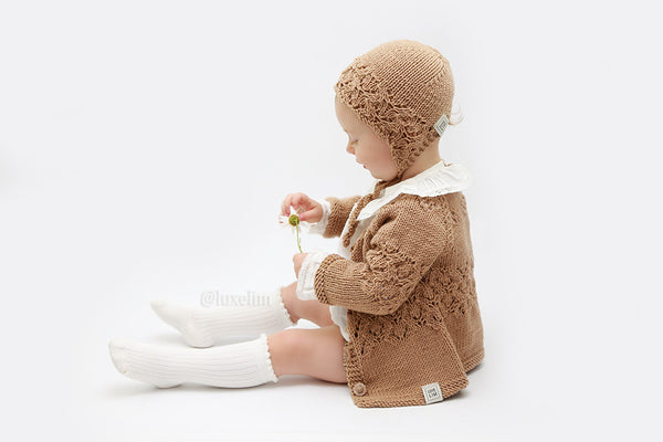 "Baby hand knitted cardigan 100% Merino wool ""Summer Collection"""