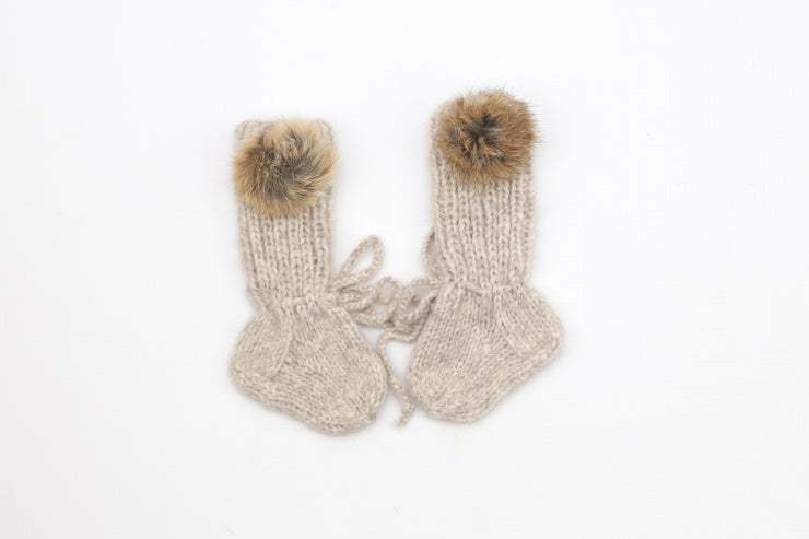 Beige Baby Booties / Alpaca wool hand knitted Socks