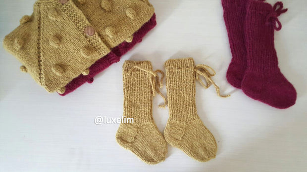 Baby Booties mustard color Alpaca wool very soft and warm