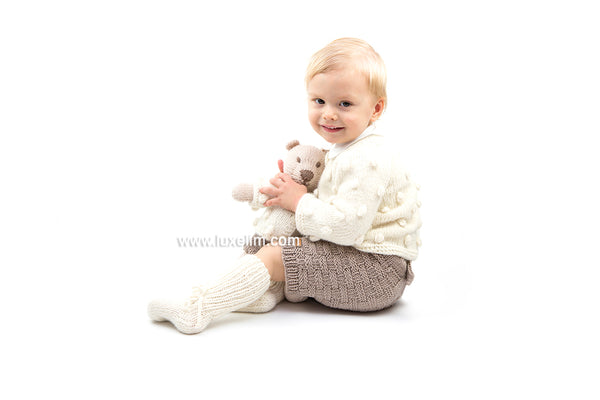 Hand Knitted Teddy Bear 100% Merino wool Fashioned Kids Toy Stuffed Animal