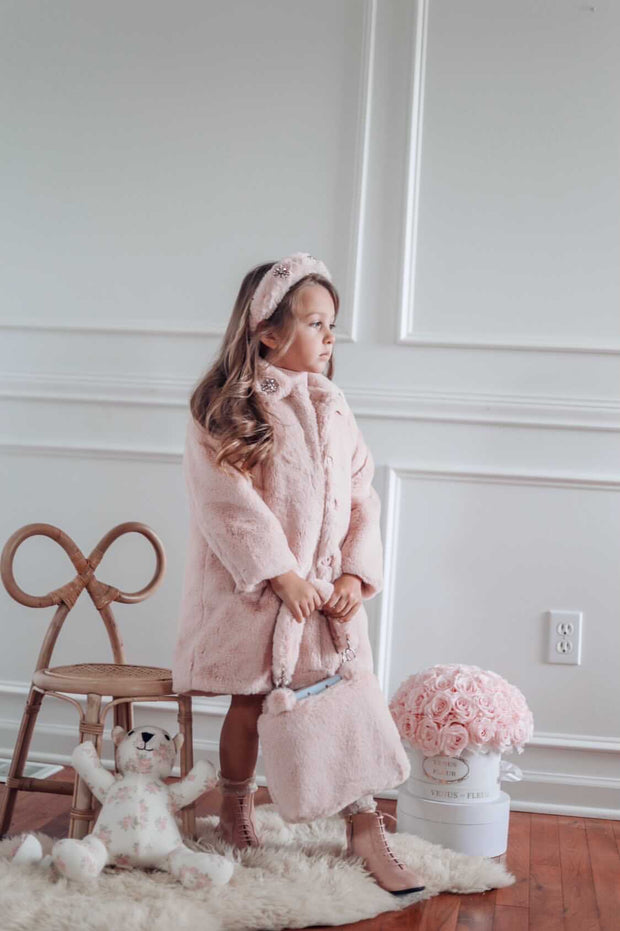 Pink faux-fur Coat Nicole Collection