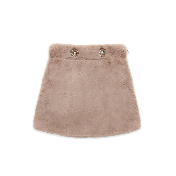 Brown faux-fur Skirt Nicole Collection