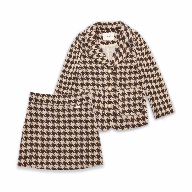 Zoe jacket and skirt 2 - peace set Beige/ brown houndstooth print
