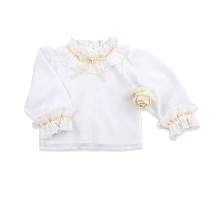 French chiffon pleated collar Blouse with cream velvet bow and pearl
