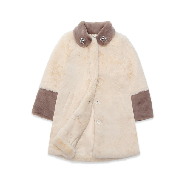 Faux-fur Coat cream brown Nicole Collection