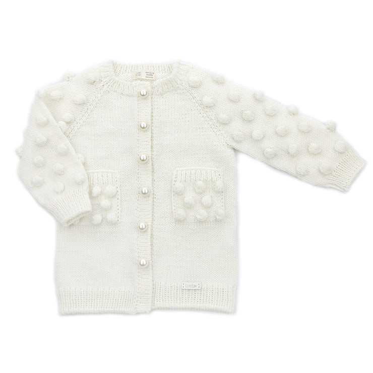 Ivory Merino wool Cardigan with Pearl buttons