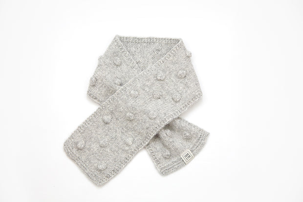 Gray Popcorn baby kids hand knitted Scarf