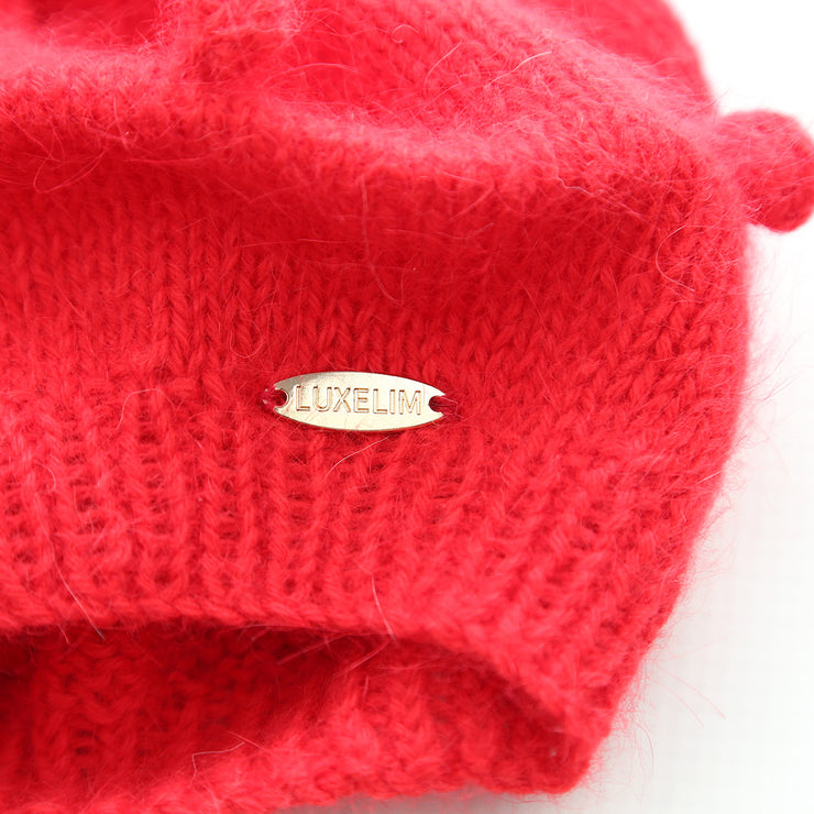 Angora Red Beret Hand knitted