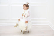 French chiffon White pleated Dress with velvet bow and pearl