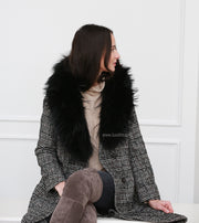 Women Elegant Black Natural fur Collar