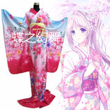 Traditional Japanese Women - Floral Long Kimono (including Obi Belt & Waist Robe)