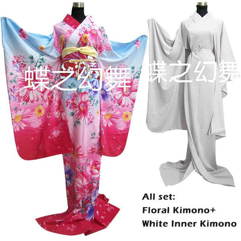 Traditional Japanese Kimono SET: 2 Kimono` s ! Floral & White (including Obi Belt & Waist Robe)