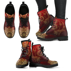 Red Sun and Moon Handcrafted Boots