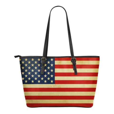 USA Flag Leather Tote Bag - Spicy Prints