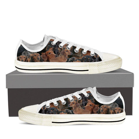 Image of Wiener Dog Dachshund Ladies Low Cut Canvas Shoes - Spicy Prints