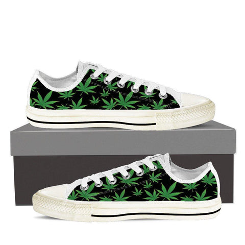 Weed Print Ladies Low Cut Canvas Shoes - Spicy Prints