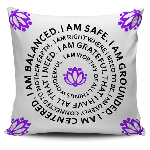"Image of I Am Balanced Mantra 18"" Pillowcase - Spicy Prints"