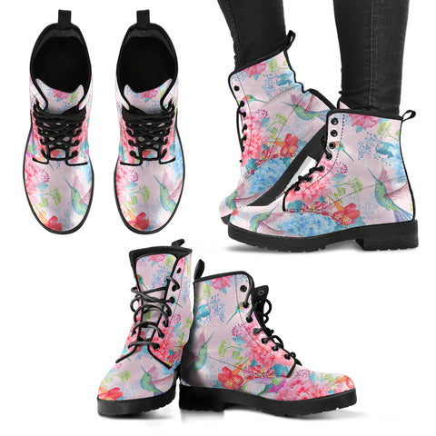 Handcrafted Pastel Pink Hummingbird Boots