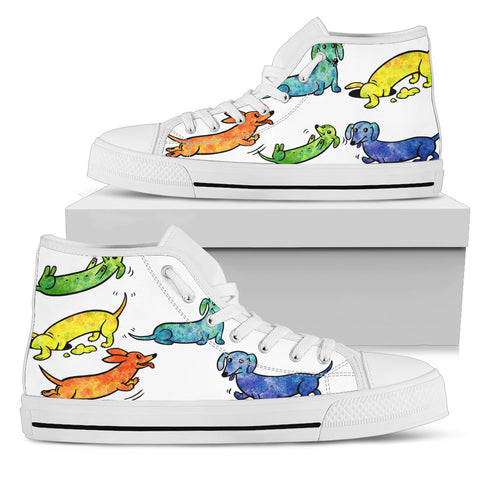 Dachshunds Color Women's High Top Shoes