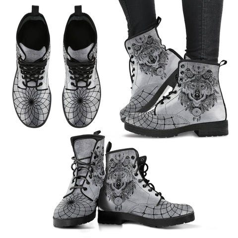 Boho Wolf Grey Handcrafted Vegan-Leather Boots