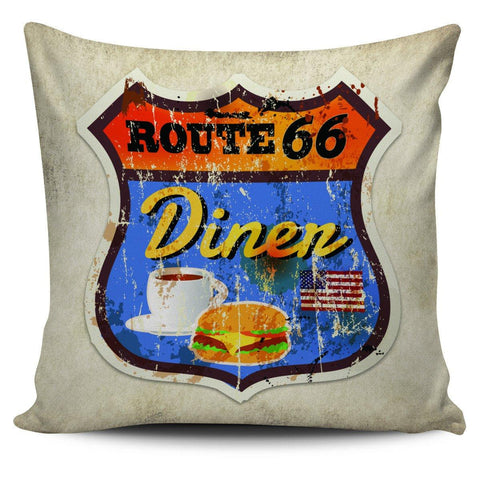 "Route 66 Vintage Style 18"" Pillowcase - Spicy Prints"