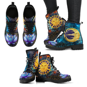 Sun & Moon Lotus Handcrafted Boots