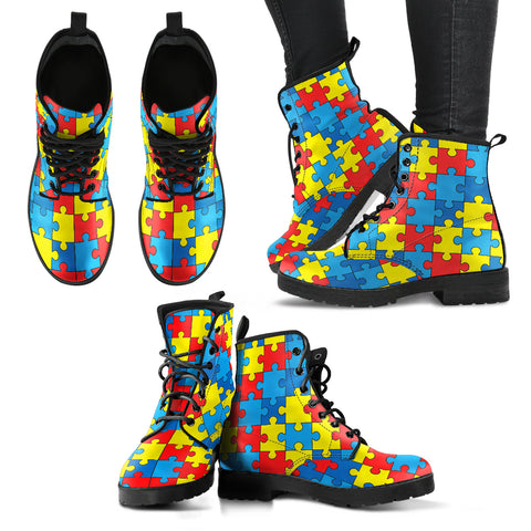 Autism Awareness Handcrafted Boots, Vegan-Friendly Leather Boots