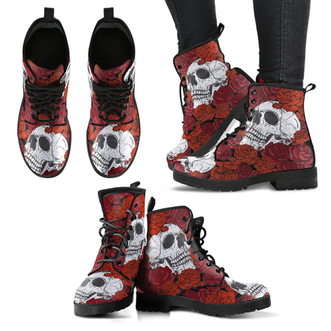 Skull and Roses Women's Leather Boots, Vegan Leather Boots