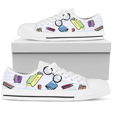 Book glasses Women's Low Top Shoe