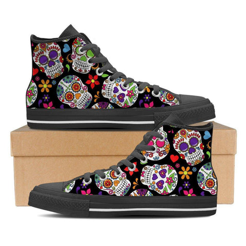 Sugar Skulls Women's High Top Canvas Shoes - Spicy Prints