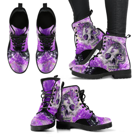 Crystal Skull Women's Leather Boots, Vegan Leather Boots
