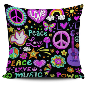 Peace Love Music Pillow Case - Spicy Prints