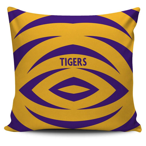 "Purple Gold Tigers 18"" Pillow Cover - Spicy Prints"