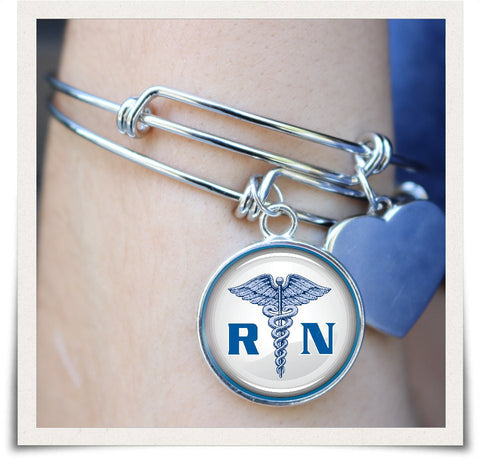 Image of RN Registered Nurse Bangle - Spicy Prints