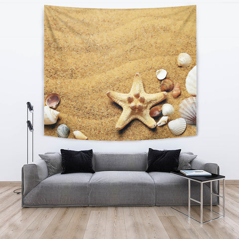 Image of Watercolor Beach Tapestry