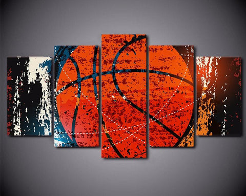 Basketball Sport Abstract 5-Piece Wall Art Canvas - Spicy Prints
