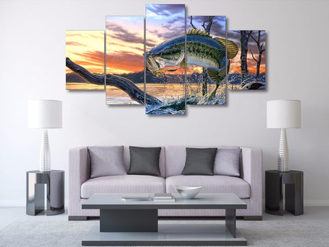 Bass Fishing Dream 5-Piece Wall Art Canvas - Spicy Prints
