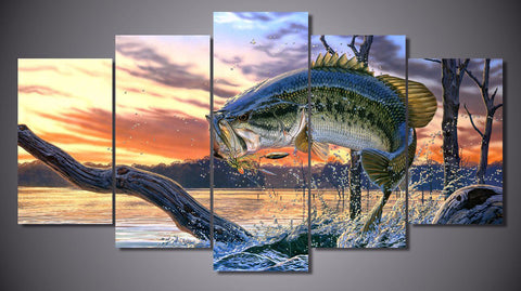 Image of Bass Fishing Dream 5-Piece Wall Art Canvas - Spicy Prints