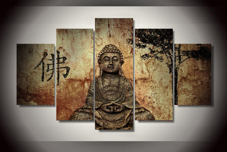 Buddha Mind And Soul 5-Piece Wall Art Canvas - Spicy Prints