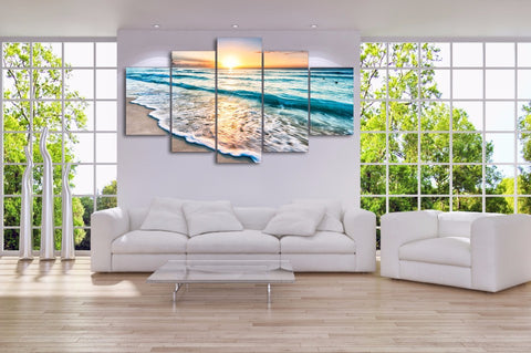 Good Morning Ocean View 5-Piece Wall Art Canvas - Spicy Prints
