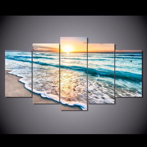 Image of Good Morning Ocean View 5-Piece Wall Art Canvas - Spicy Prints