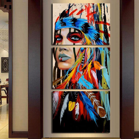Image of Indian Wall Art American Native Indian 3-Piece Wall Art Canvas - Spicy Prints