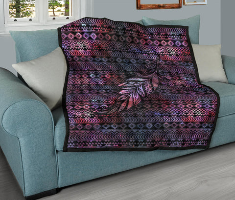 Aztec Boho Feather Premium Quilt